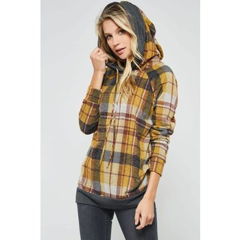Plaid Pattern Double Hoodie Top