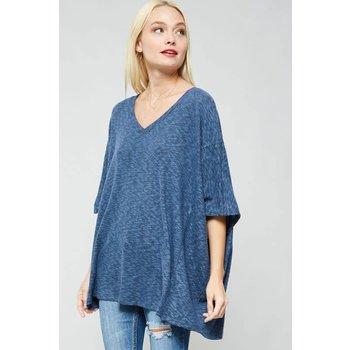 V neckline loose fit knit top