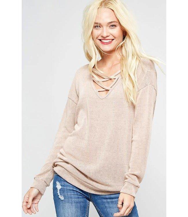 X-strap knit sweater