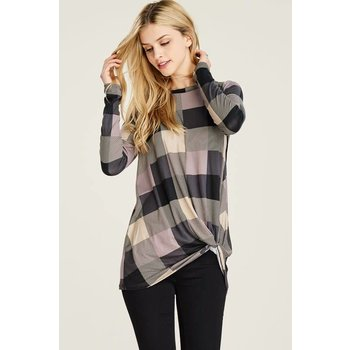 Long Sleeve Plaid Front Knot Top