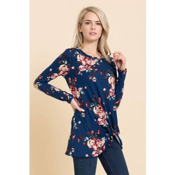 Long Sleeve Floral Front Knot Top