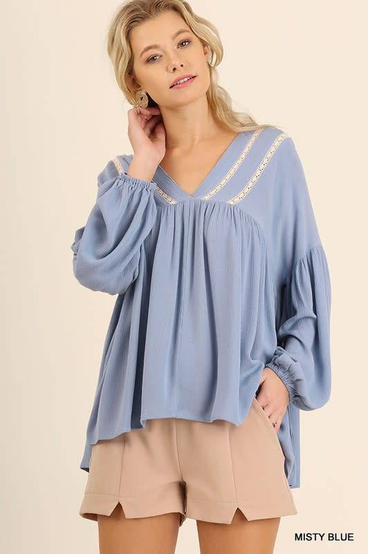 Bishop Sleeve V-Neck Top