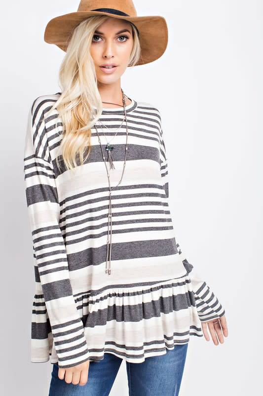 143 Story Multi Striped Jersey Top