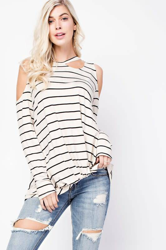 143 Story Striped Cold Shoulder Top