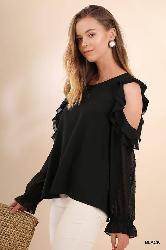 Cloud Walk Ruffle Cold Shoulder Top