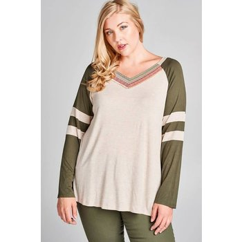 La Vida Color Block V Neck Top