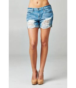 Distressed Mid-Rise Boyfriend Short