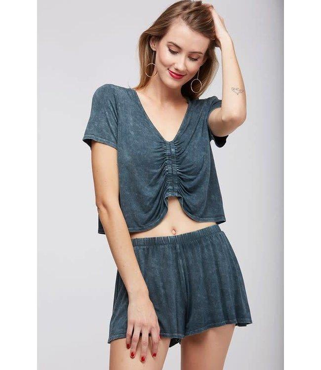 Garment Wash Knit Top