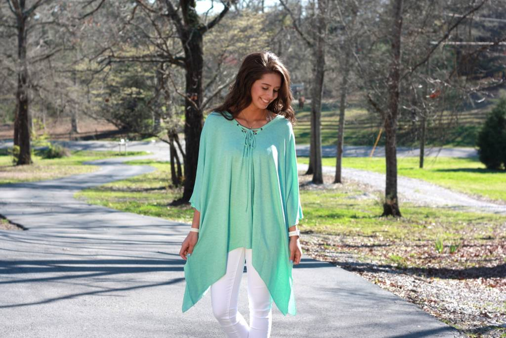 D and D Wholesale Lace Up Shark Bite Tunic