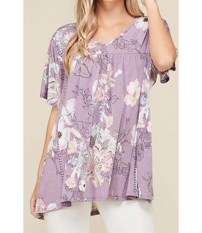 11 Degrees Floral Flutter Sleeve Top