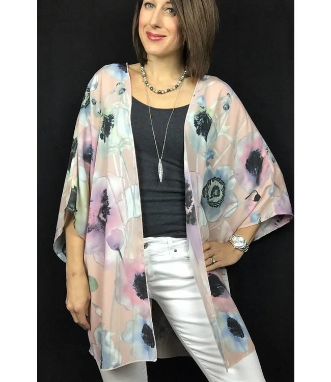 D and D Wholesale Open Front Floral Kimono