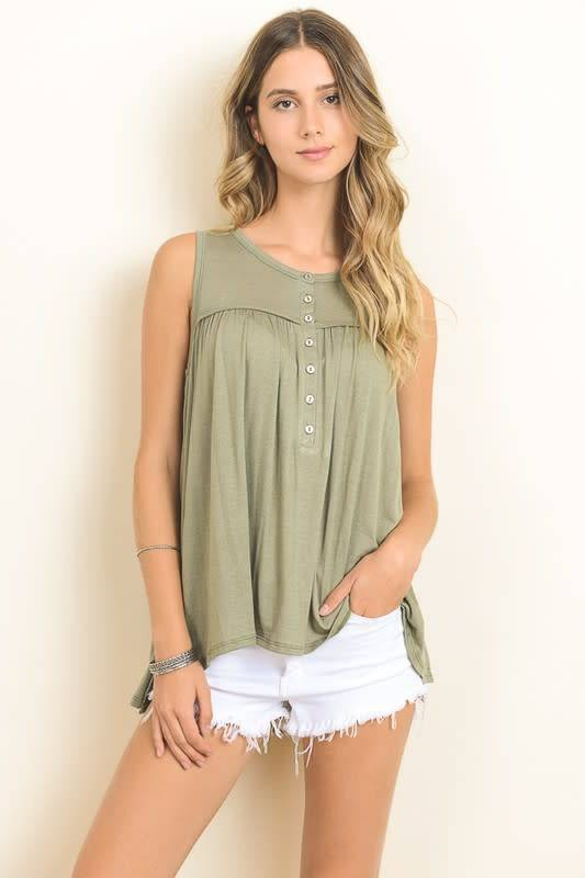 Hopely Button-Up Baby Doll Tank
