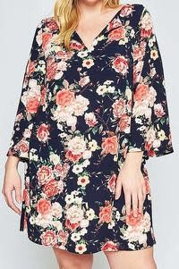 11 Degrees Floral Bell Sleeve Dress