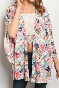 11 Degrees Tropical Print Kimono