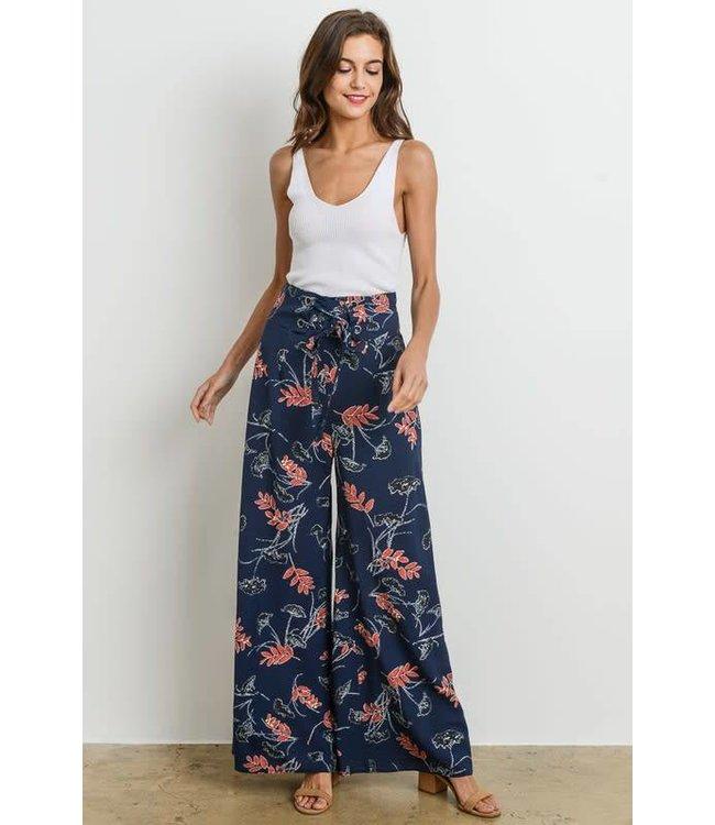 Charme U Floral Wide Leg Pants