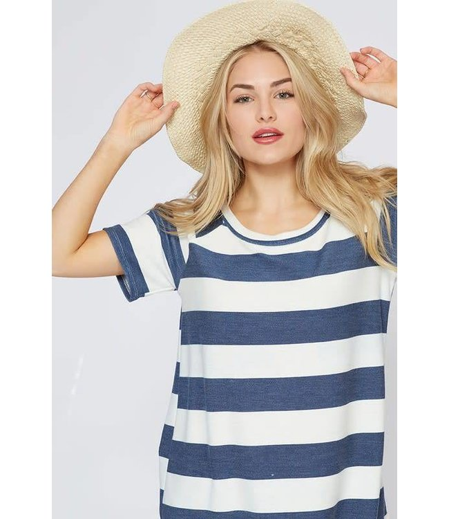 Loose Neckline Striped Top