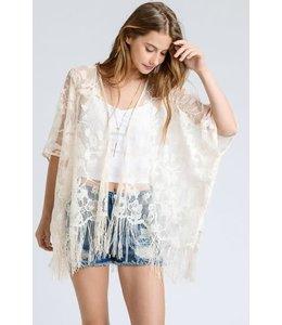 Doe & Rae Lace Fringe Sheer Kimono