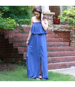 Doe & Rae Strapless Ruffle Maxi Dress