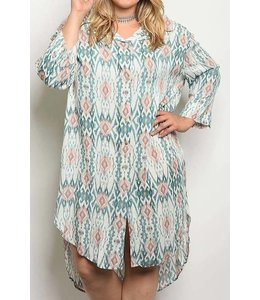 11 Degrees Printed High Low Dress