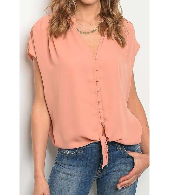 11 Degrees Tie Front Button Blouse