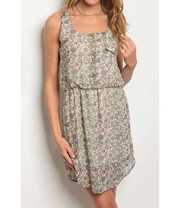 11 Degrees Paisley Elastic Waist Dress