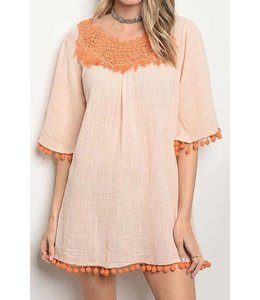 11 Degrees Pompom Bell Sleeve Dress