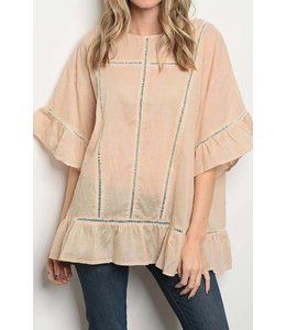11 Degrees Wide Ruffle Oversized Top