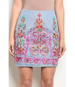 11 Degrees Embroidered Pencil Skirt