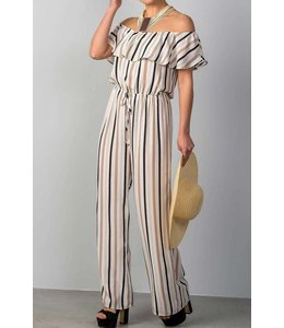 11 Degrees Stripe Off-Shoulder Jumpsuit