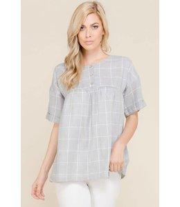 Polagram Grid Short Sleeve Top