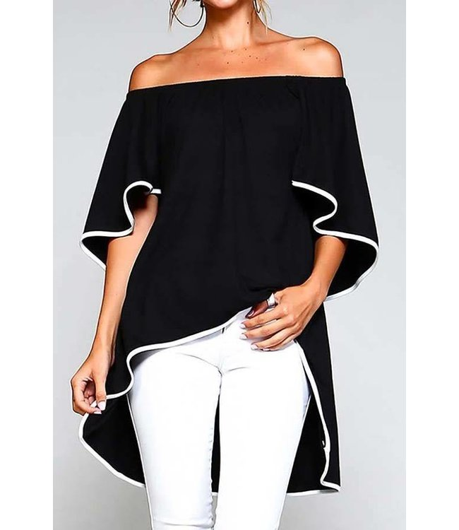 11 Degrees Off Shoulder Contrast Tunic
