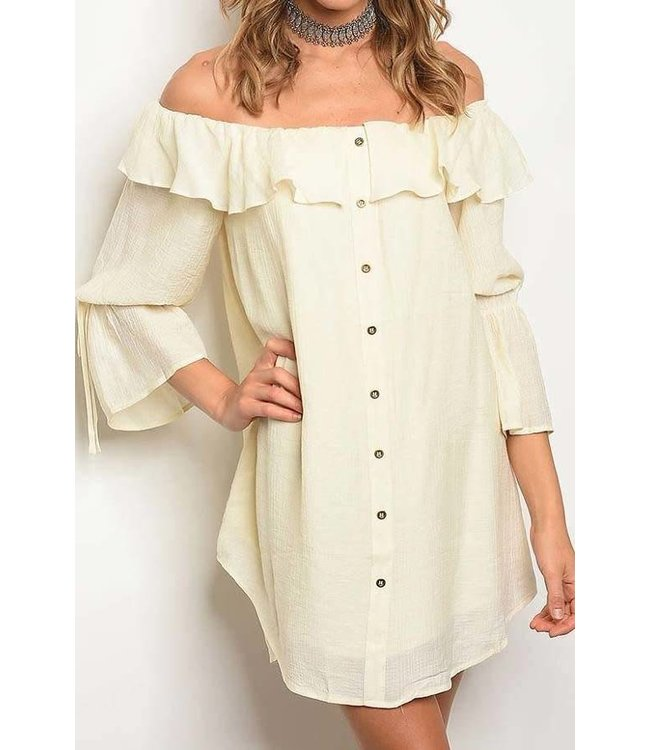 11 Degrees Off Shoulder Button Dress