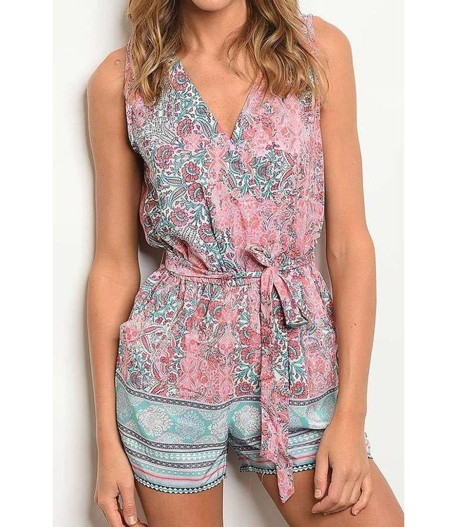 11 Degrees V-Neck Print Romper