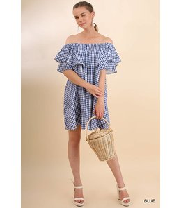 Umgee Checkered Ruffle Dress