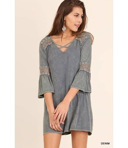Washed 3/4 Sleeve Dress