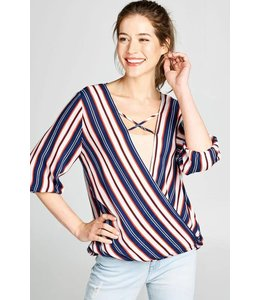 Oddi Plus Striped Woven Wrap Top