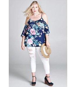 Oddi Plus Floral Bell Sleeve Blouse