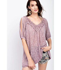Easel Washed Cold Shoulder Tunic
