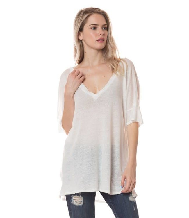 Tree People Piko V Neck Knitted T