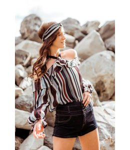 Space 46 Stripe Open Shoulder Top