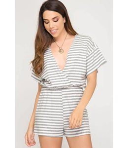 She + Sky Striped Surplice Romper