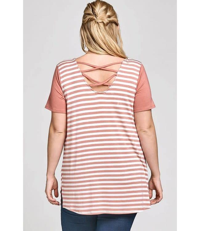 Oddi Plus Caged Back Stripe Top