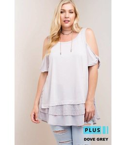 Kori America Cold Shoulder Chiffon Top