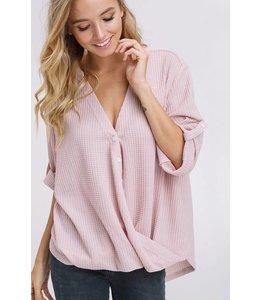 Listicle Button Down Gather Top