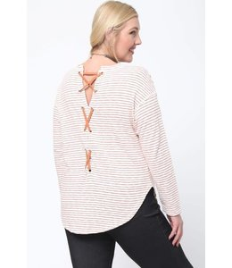 Very J Stripe Lace Up Top