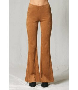 By Together Suede Bell Bottom Pants
