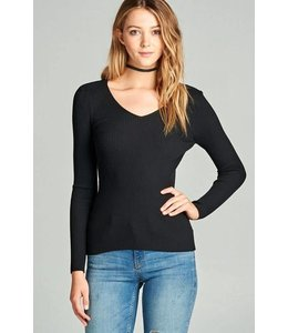 American Fit V Neck Rib Sweater