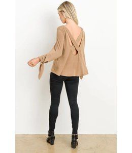 Charme U Open Back Long Sleeve Top
