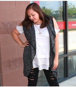 Full Figured Fashionista Heathered Long Vest
