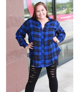 Full Figured Fashionista Plaid Button Down